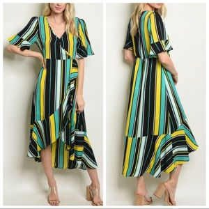 NEW Green Yellow Vertical Stripe Dress